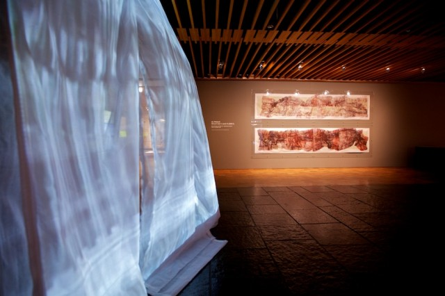 Liz Rideal's 'Drop Sari' and 'Ghost Sari', installation view. Photo © ellelens.com