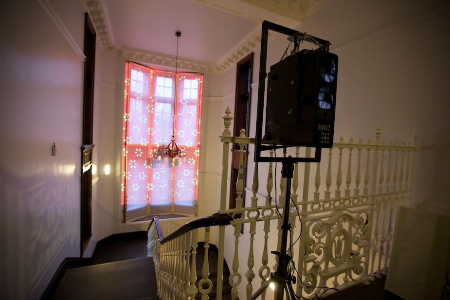 Digital projector on the staircase