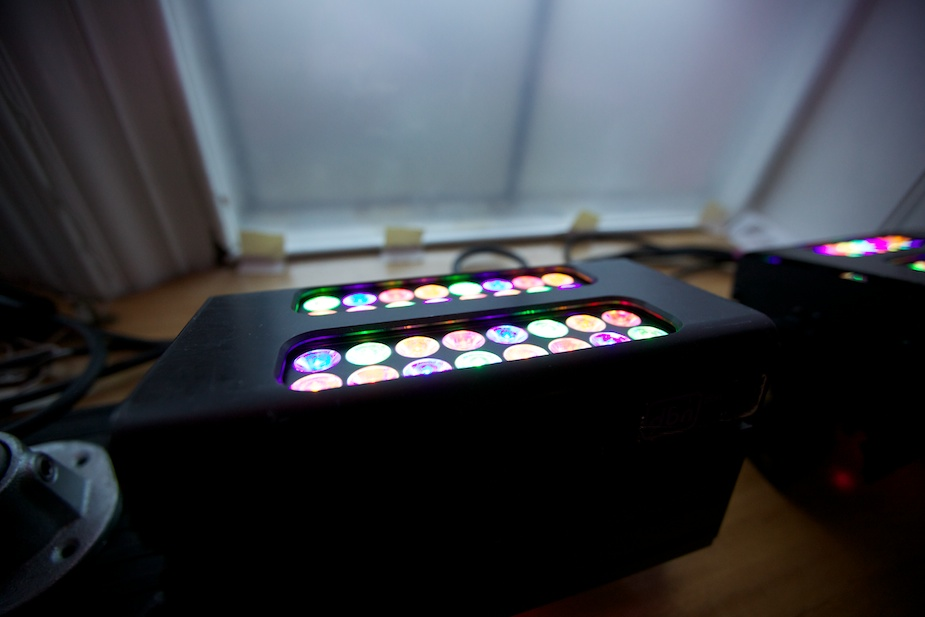 Programmed LED boxes situated at the windows